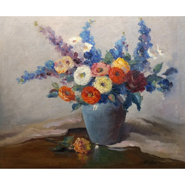 Impressionism Nell Walker Warner- Large Floral Still Life -Beautiful Oil painting -Impressionist c1920s For Sale - Image 3 of 10