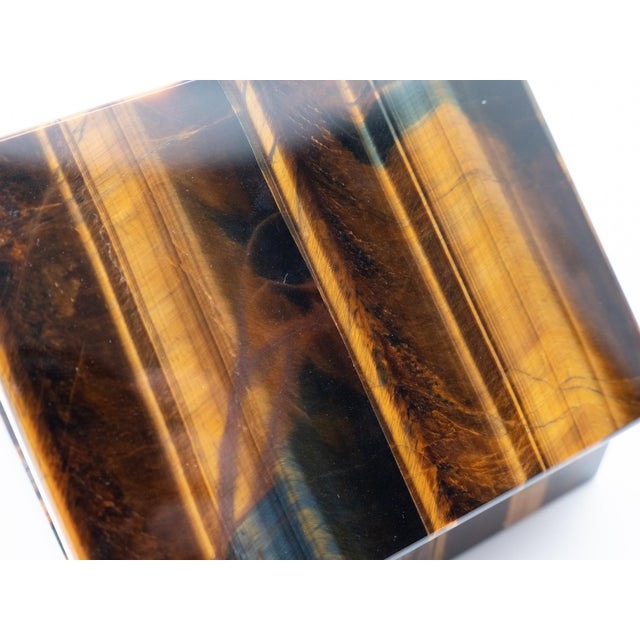 Early 21st Century Tiger's Eye Semi-Precious Stone Box For Sale - Image 5 of 8