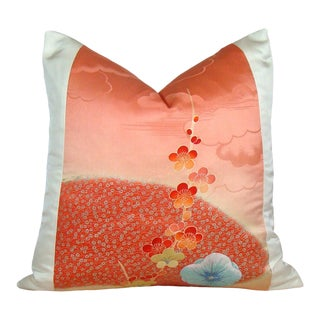 Floral Fan Japanese Silk Kimono Pillow Cover For Sale
