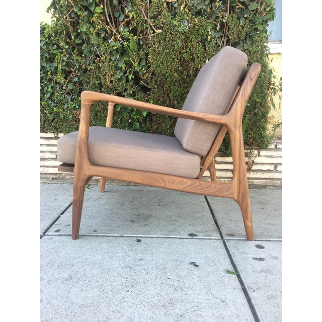 Tan Custom Walnut Lounge Chair in Soft Taupe Gray For Sale - Image 8 of 13