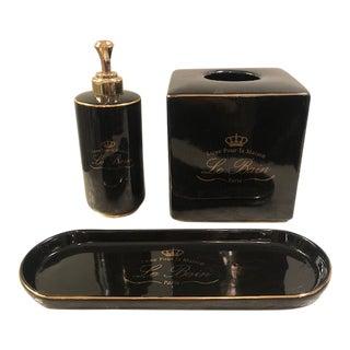 Restoration Hardware Black & Gold Porcelain Bathroom Set For Sale