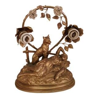 Art Nouveau Parisian Mantle Lamp Lady For Sale