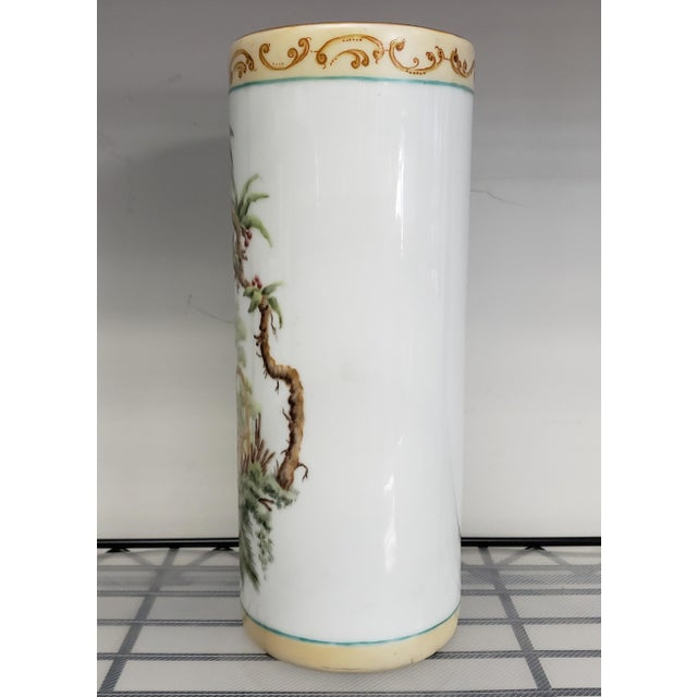 Up for sale is an 1880 French-American Hand Painted Chinoiserie Porcelain Wig Stand Signed H. deBaroncelli! It measures 10...