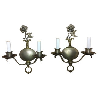 Pair of Two-Light Pewter Flower Motif Sconces, Mid-20th Century For Sale