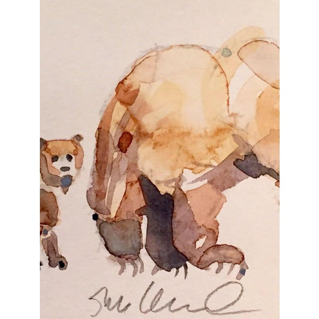 Contemporary Bear Cub & Mom Watercolor Painting - Image 2 of 2