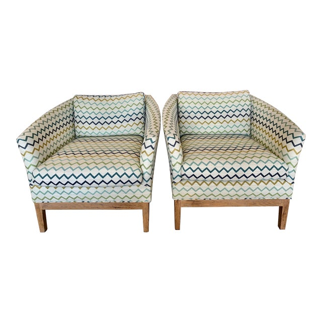 Lee Industries Upholstered Club Chairs -a Pair For Sale