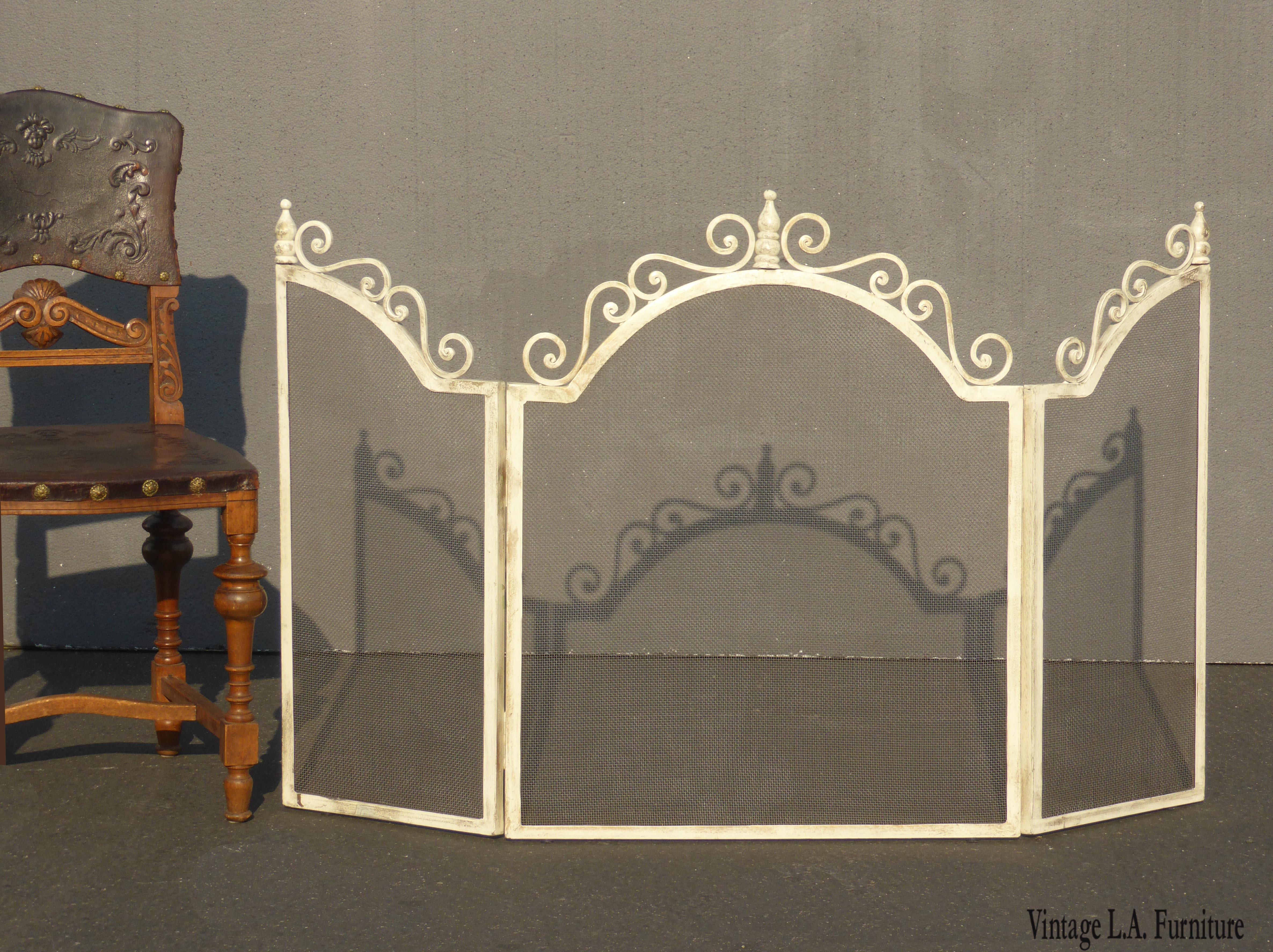 Vintage French Country Off White Fireplace Screen Shabby Chic