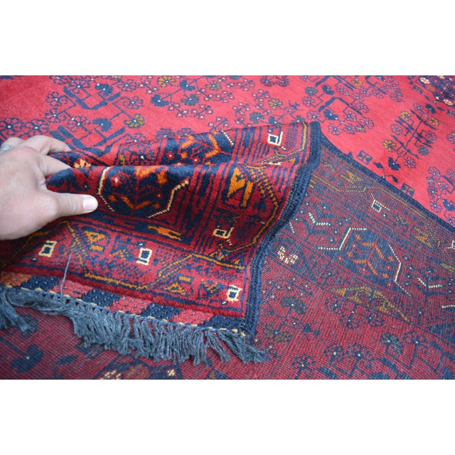 Textile Afghan Tribal Red Rug For Sale - Image 7 of 9