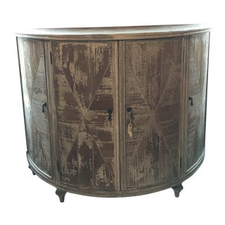 Distressed Grey Demi-Lune Cabinet