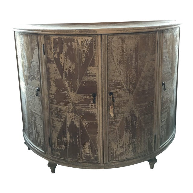 Distressed Grey Demi-Lune Cabinet For Sale