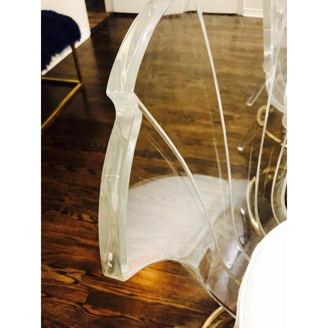 Animal Skin Vintage Lucite Acrylic Fan Back Bar Stools - Set of 4 For Sale - Image 7 of 9