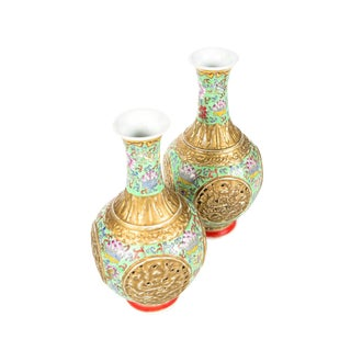 Antique Chinese Famille Rose Green & Gold Vases - A Pair For Sale