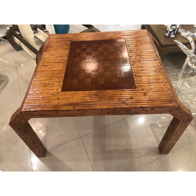 1970s Vintage Hollywood Regency Palm Beach Flat Reed Bamboo Rattan Game Dining Table For Sale - Image 5 of 13