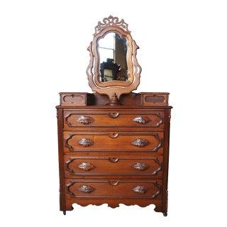 19th Century Victorian Solid Walnut Carved Dresser & Wishbone Mirror For Sale