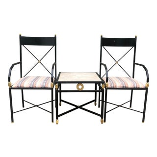 Hollywood Regency Chairs and Occasional Table - Set of 3 For Sale