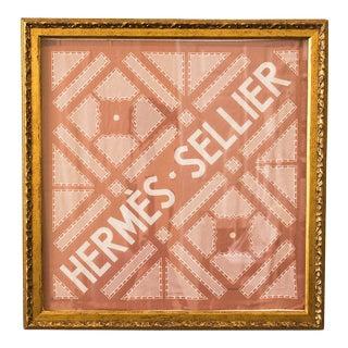 Hermès Vintage Sellier Soft Pink Cotton Pocket Square, Framed For Sale