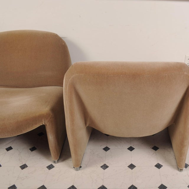 Clean pair of 70's era Alky chairs covered in mink-colored mohair. Lightweight and easily moveable, yet firmly made and...