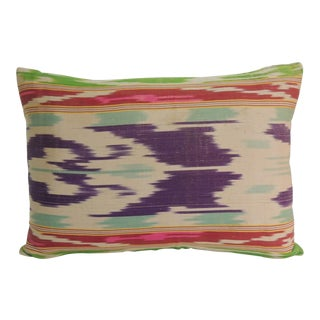 Antique Colorful Silk Ikat Artisanal Textile Decorative Lumbar Pillow For Sale
