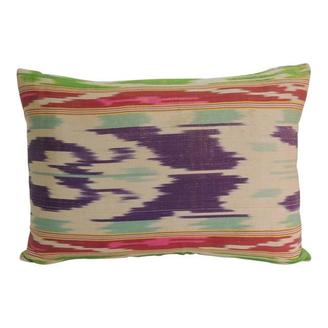 Antique Colorful Silk Ikat Artisanal Textile Decorative Lumbar Pillow For Sale