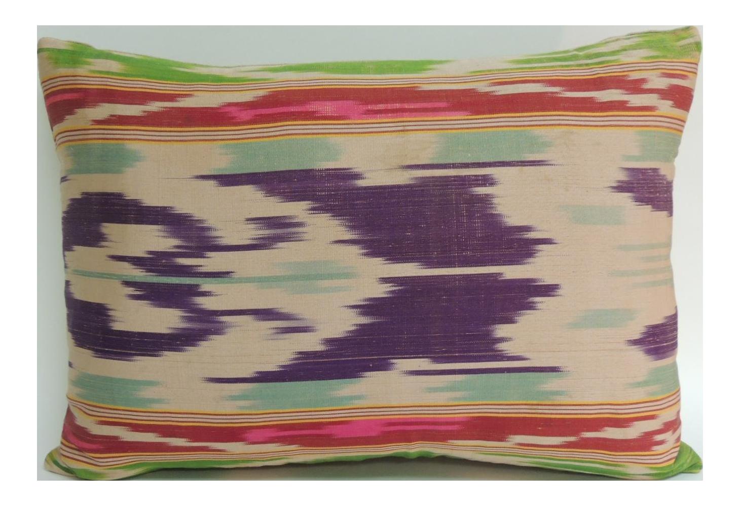 Antique Colorful Silk Ikat Artisanal Textile Decorative Lumbar Pillow