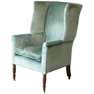 19th Cent. Hepplewhite Mahogany Wingback Chair in Light Turqouise Striae Velvet For Sale