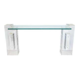 Lucite and Glass Console Table For Sale