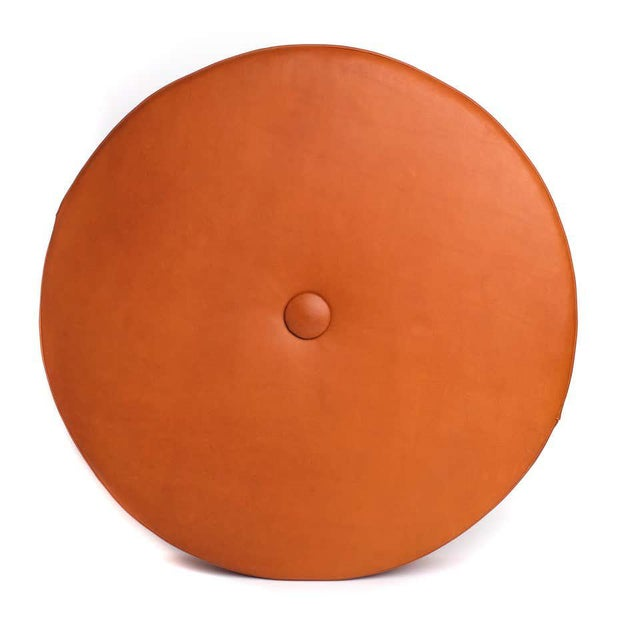 Leather Drum Stacking Floor Cushion in Caramel by Moses Nadel For Sale - Image 4 of 7