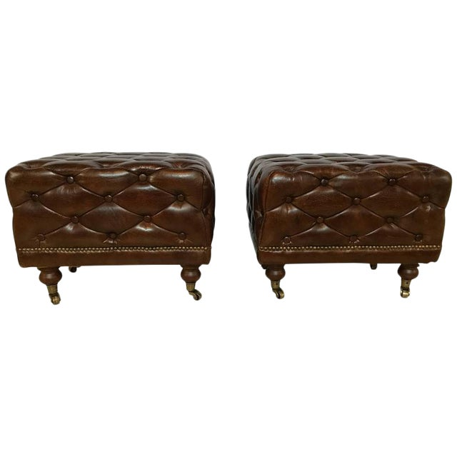 Leather Chesterfield Footstools - a Pair For Sale In New York - Image 6 of 6