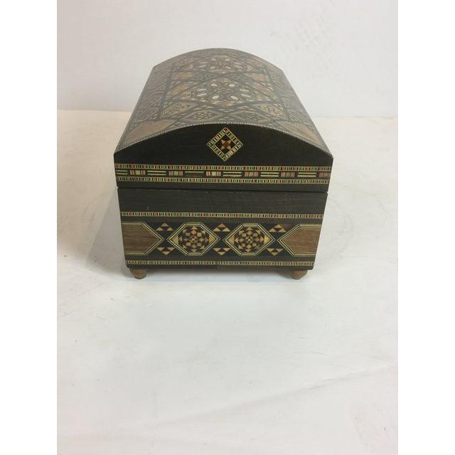 Islamic Handcrafted Inlaid Wood Moorish Jewelry Box For Sale - Image 3 of 13