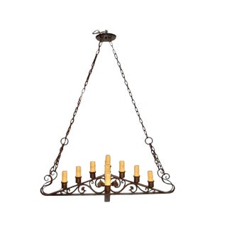 1920s Wrought Iron Chandelier For Sale