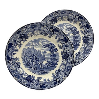 English Blue & White Plates - a Pair For Sale