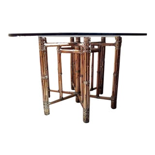 Classic McGuire Hexagon Bamboo and Glass Table For Sale