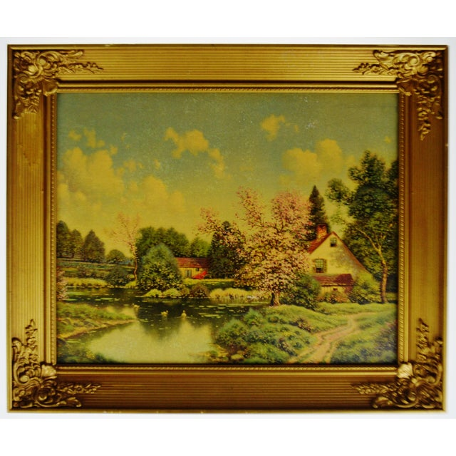 Vintage Gilt Framed Landscape Print on Textured Board Condition consistent with age and history. Some foxing/loss to...