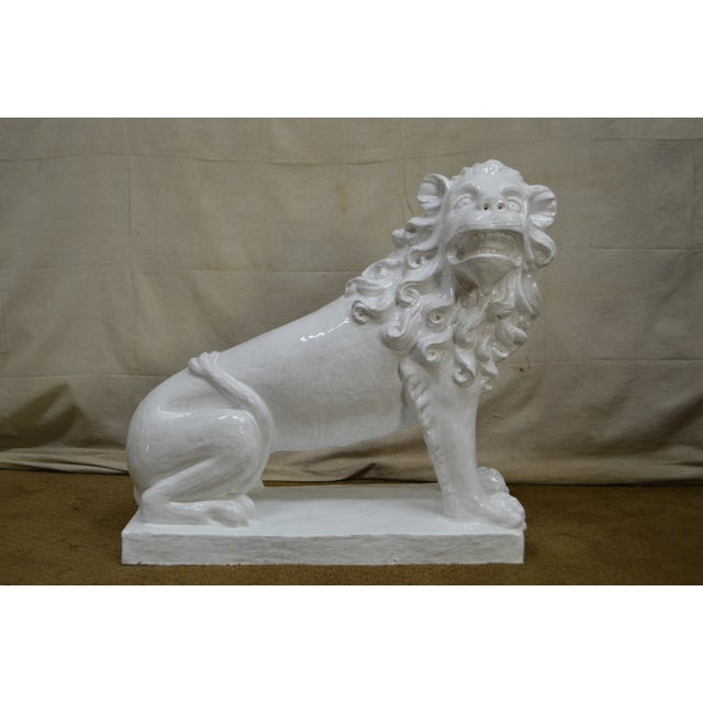 French Faience Pottery Tuilerie Normande Vintage Large White Seated Lion Statue For Sale - Image 9 of 13