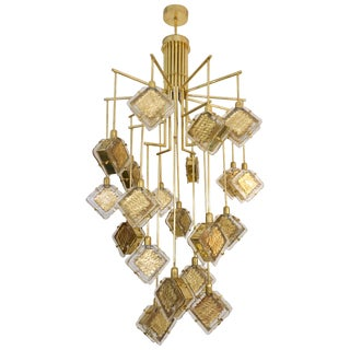 Contemporary Italian Geometric Gold Crystal Murano Glass Brass Chandelier For Sale