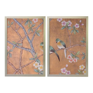 Vintage Chinoiserie Wallpaper Remnant Diptych on Shimmering Copper Silk- 2 Pieces For Sale