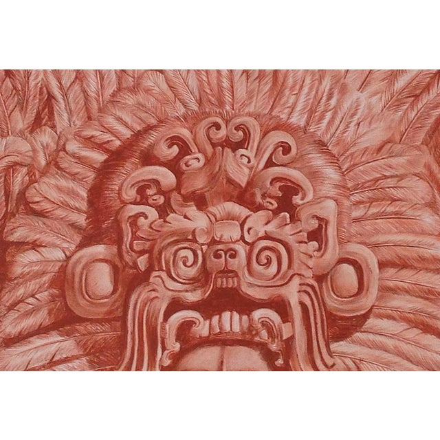 "Illustration of Mayan Headdress, ""Penacho Ceremonial De Sacerdote Maya"" - Image 2 of 6"