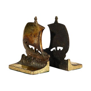 1950s Brass Sailing Ship Bookends, Pair For Sale