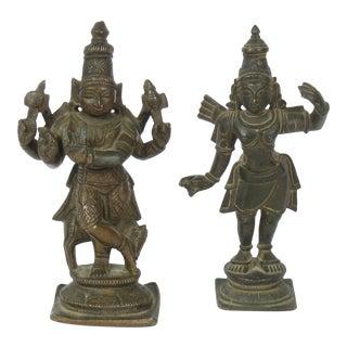 20th Century Hindu Bronze Figures - Set of 2 For Sale