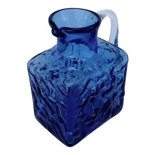 Italian Hand Blown Murano Indigo Blue Creamer For Sale