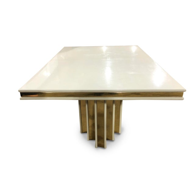 1970s 1970s Contemporary Roger Rougier Brass and Lacquered Dining Table For Sale - Image 5 of 8