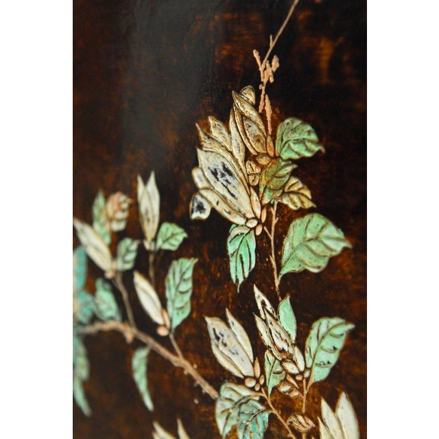 Green Chinese Floral and Foliate Painted Relief Panel For Sale - Image 8 of 11