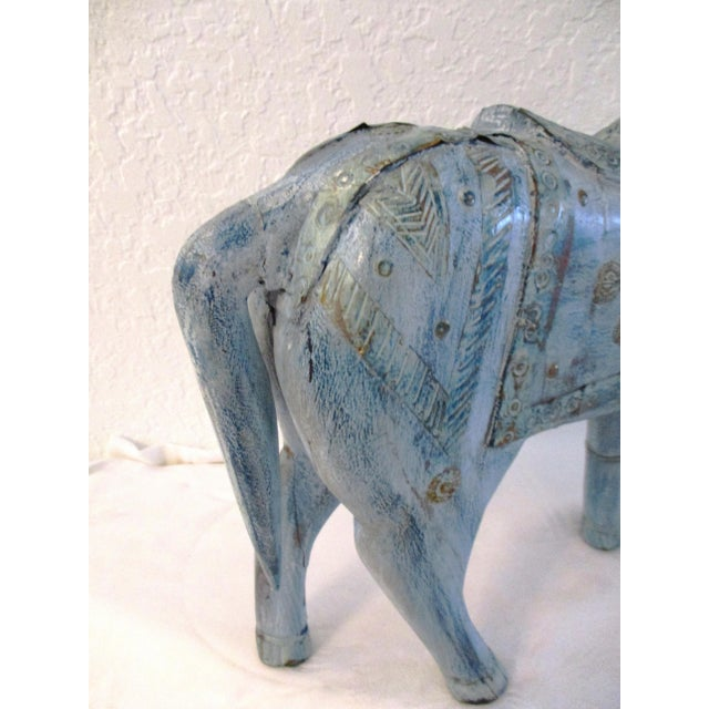 1990s Antique Blue Wood & Brass Tang Stallion For Sale In West Palm - Image 6 of 8