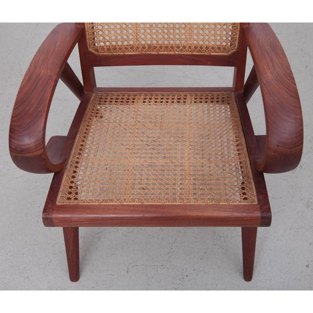Wicker Pair of Danish Solid Teak Studio Lounge Chairs For Sale - Image 7 of 11