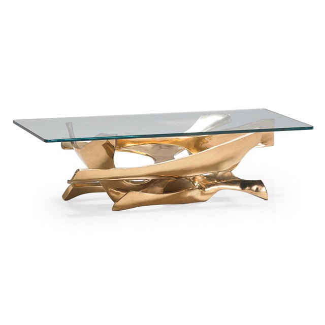 1970s Abstract Fred Brouard Superb Sculptural Bronze and Glass Coffee Table For Sale In New York - Image 6 of 6