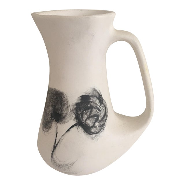 Gray & White French Ceramic Pitcher For Sale