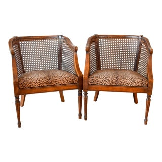 Vintage Mid Century Cane Barrel Back Leopard Side Chairs- A Pair For Sale