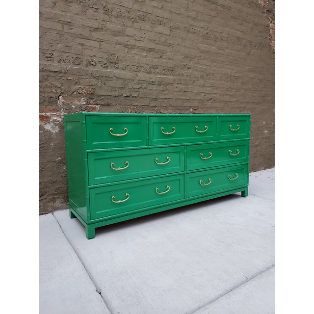 1970s Regency Bamboo Green Lacquer Dresser For Sale In Chicago - Image 6 of 13