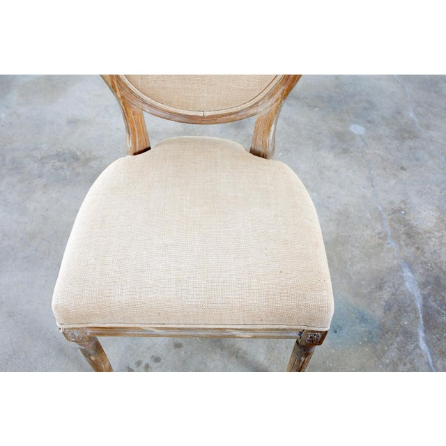 French Louis XVI Style Oak Dining Chairs - Set of 10 For Sale - Image 11 of 13