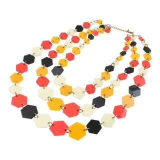 Multi-Strand Lucite Necklace Orange Black Cream Losange For Sale
